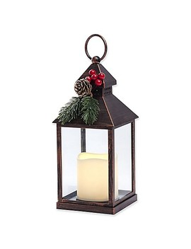 Holiday Led Lantern In Antique Copper by Bed Bath And Beyond