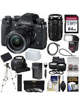 Fujifilm X T3 4 K Wi Fi Digital Camera & 18 55mm Xf Lens (Black) With 50 230mm Lens + 64 Gb Card + Battery/Charger + Case + Flash + Tripod + 2 Lens Kit by Fujifilm