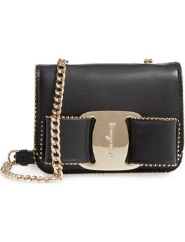 Mini Vara Studded Leather Shoulder Bag by Salvatore Ferragamo