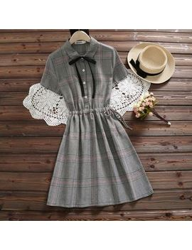 Clover Dream   Short Sleeve Plaid A Line Midi Dress by Clover Dream