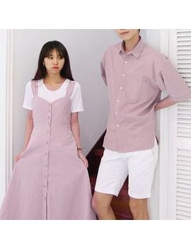 Himneza   Couple Matching Strappy A Line Midi Dress / Elbow Sleeve Shirt by Himneza