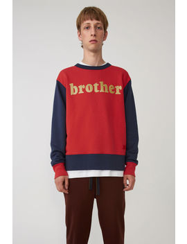 Colourblocked Sweatshirt Red/Navy by Acne Studios