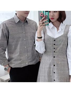 Himneza   Couple Matching Shirt / Strappy A Line Midi Dress by Himneza