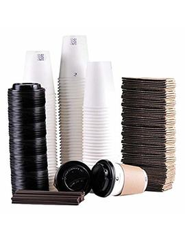 Luckypack Disposable Coffee Cups To Go With Travel Lids Sleeves And Straws 100 Percents Biodegradable & Compostable Pla Eco Friendly Paper Coffee Cups 100 Sets Of 12 Oz by Luckypack
