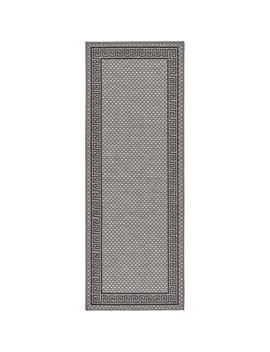 "Outdoor Border Gray 2'2"" X 6' Runner Rug by Unique Loom"