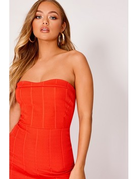 Billie Faiers Red Bandeau Bandage Pephem Midi Dress by In The Style