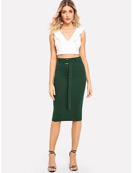 Adjustable Belted Split Hem Skirt by Shein