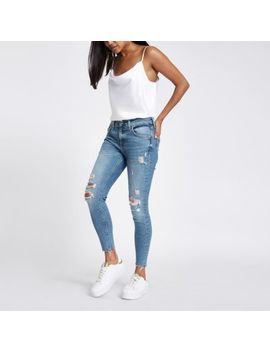 Petite Mid Blue Amelie Ripped Chainmail Jeans by River Island