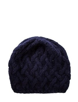 Navy Cable Knit Beanie Hat by Eugenia Kim