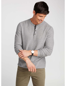 Honeycomb Knit Henley Sweater by Le 31