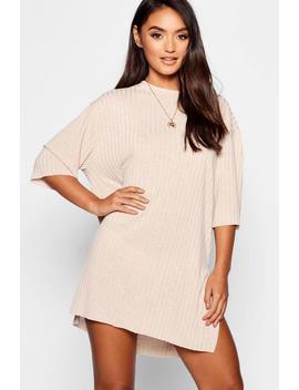Petite Rib Knitted Slouchy T Shirt Dress by Boohoo
