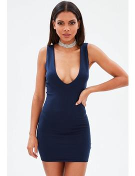Navy Extreme Scoop Knitted Mini Dress by Missguided