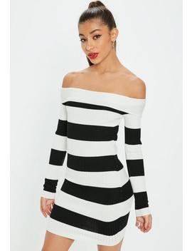 White Bardot Stripe Knitted Mini Dress by Missguided