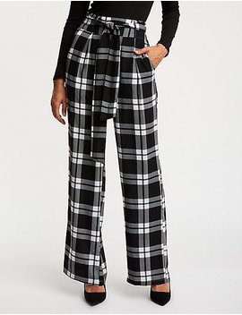 Plaid Tie Front Palazzo Pants by Charlotte Russe