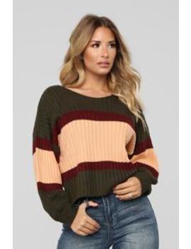 Slow Jams Sweater   Olive/Combo by Fashion Nova