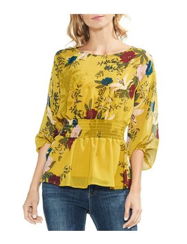 Floral Print Bubble Sleeve Woven Blouse by Vince Camuto