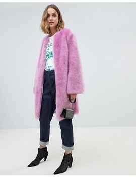 Asos Design Faux Fur Midi Coat With Flared Sleeve by Asos Design