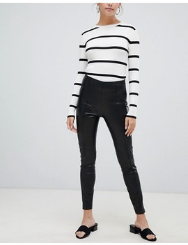 Bershka Faux Leather Legging In Black by Bershka