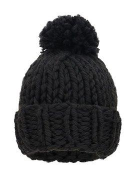 Black Chunky Knit Faux Fur Pom Pom Beanie by Arctic Paw