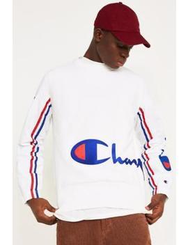 Champion Corp Logo White Track Sleeve Sweatshirt by Champion