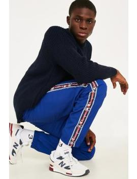 Champion Corp Logo Crinkle Blue Track Pants by Champion