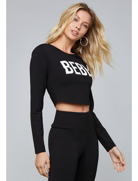 Logo Long Sleeve Crop Top by Bebe