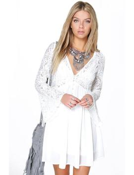 Corded Lace Button Woven Smock Dress Corded Lace Button Woven Smock Dress by Boohoo