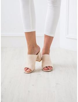 'elizabeth' Almond Peep Toe Booties Suede Leather Sandals by Goodnight Macaroon