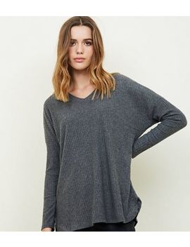 Dark Grey Ribbed Brushed Jersey Top by New Look