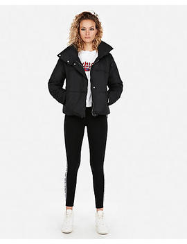Fold Over Collar Puffer Coat by Express