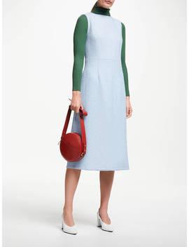 John Lewis & Partners Sleeveless Textured Wool Dress, Pale Blue by John Lewis & Partners