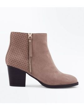 Wide Fit Brown Suedette Laser Cut Ankle Boots by New Look