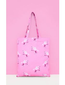 Prettylittlething Pink Unicorn Canvas Tote by Prettylittlething