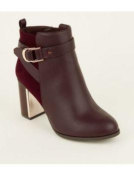 Wide Fit Dark Red Metal Block Heel Ankle Boots by New Look