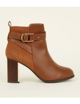 Wide Fit Tan Metal Block Heel Ankle Boots by New Look