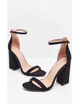 Black High Block Heel Strappy Sandal by Prettylittlething