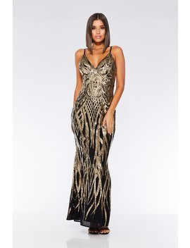 Black And Gold V Neck Fishtail Maxi Dress by Quiz
