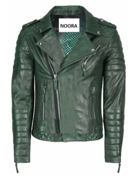 Noora Men's Genuine Lambskin Stylish Biker Leather Jacket Dark Green by Ebay Seller