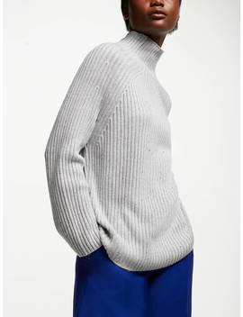 John Lewis & Partners Rib Funnel Neck Sweater, Silver Grey by John Lewis & Partners