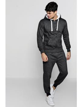 Zip Through Hooded Tracksuit With Contrast Drawcords by Boohoo