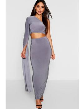 One Shoulder Extreme Sleeve + Maxi Skirt Co Ord by Boohoo
