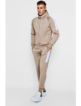 Tricot Zip Through Tracksuit With Contrast Panels by Boohoo