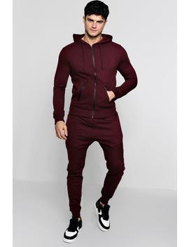 Biker Tracksuit With Contrast Zips by Boohoo
