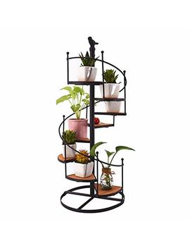Flower Pot Shelf Wrought Iron Spiral Staircase Display Stand Decorative Flower Pot Holders European Retro Home Desktop Ornaments Shelf Garden Shelves Display Plant Stand 8 Tier 57cm by Dream Cool