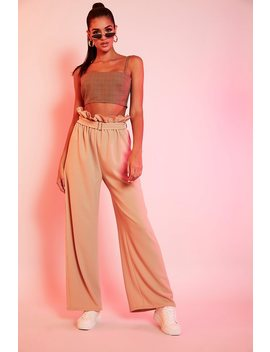 Camel Belted Paperbag Wide Leg Trousers by I Saw It First
