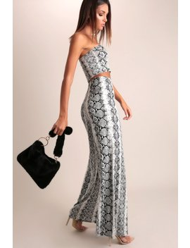 Grey Snake Print Wide Leg Trousers by I Saw It First