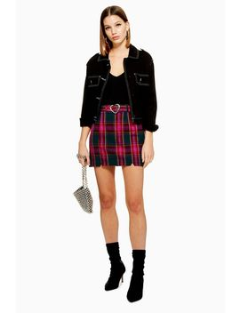 Heart Buckle Check Mini Skirt by Topshop