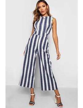 High Neck Stripe Jumpsuit by Boohoo