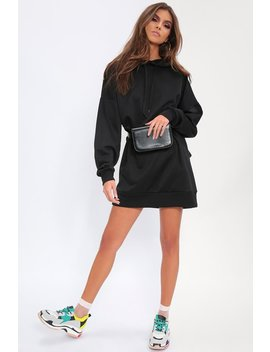 Black Oversized Hoodie Sweater Dress by I Saw It First