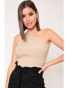 Stone One Shoulder Knitted Jumper by I Saw It First